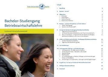 Bachelor-Studiengang Betriebswirtschaftslehre am Fachbereich