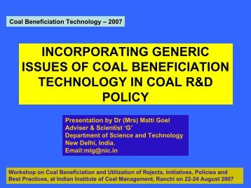 incorporating generic issues of coal beneficiation technology in coal ...