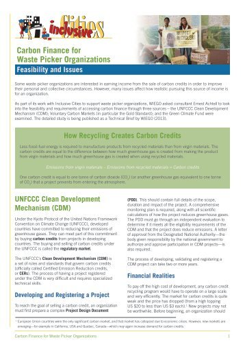 Carbon Finance for Waste Picker Organizations - Inclusive Cities
