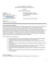 Fall 2013 Syllabus - Criminology and Criminal Justice - University of ...