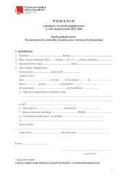 Podanie o przyjęcie na studia podyplomowe: Towaroznawstwo ...