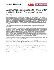 ABB Announces Extension to Tender Offer for ... - ABB - ABB Group