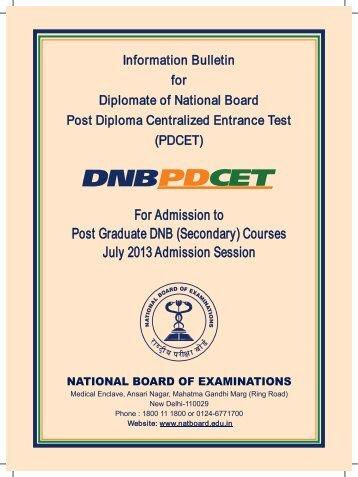 Information Bulletin for PDCET PDF - DNB PD-CET - National Board ...