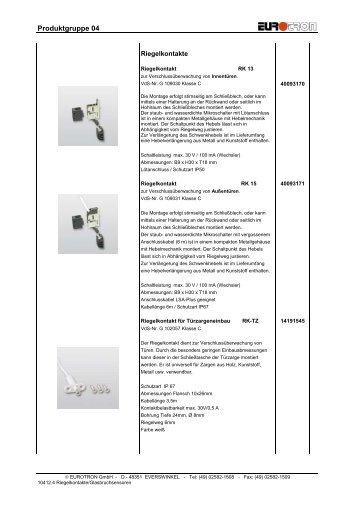 Bildliste Riegelkontakte, GBS 2012 - Eurotron Sicherheitstechnik ...