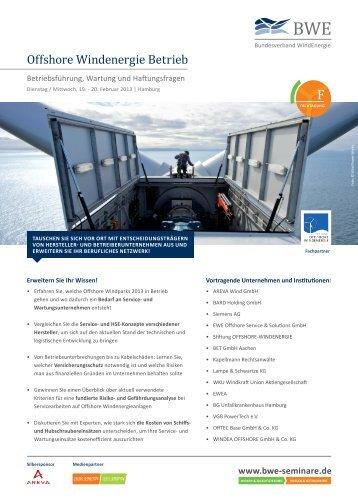 Offshore Windenergie Betrieb - BWE Seminare