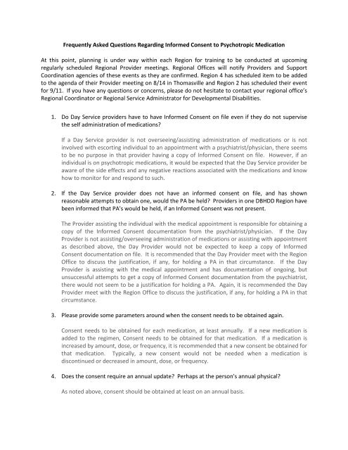 Frequently Asked Questions Regarding Informed Consent to ...