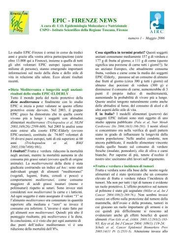 EPIC Firenze NEWS n° 1 - Centro per lo Studio e la Prevenzione ...