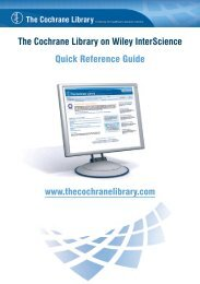 Quick Reference Guide - Cochrane Library Users' Group