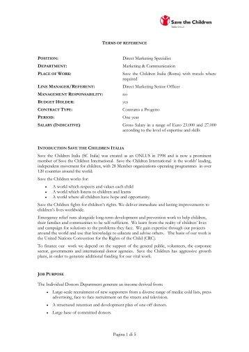 Direct Marketing Specialist - Save the Children Italia Onlus