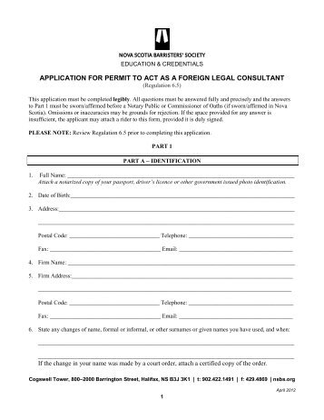 application for permit to act as a foreign legal consultant
