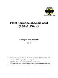 Plant hormone abscisic acid (ABA)ELISA Kit