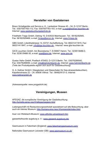 Hersteller von Gaslaternen Vereinigungen, Museen