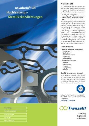 novaform® GB Hochleistungs- Metallsickendichtungen