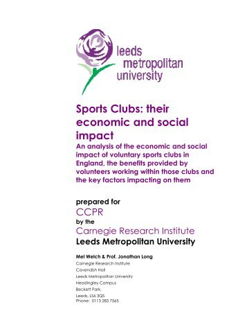 Sports Clubs: their economic and social impact - Sport and ...