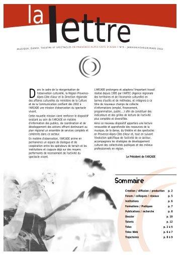 La Lettre n°09 - Arcade Provence-Alpes-Côte d'Azur - Arcade PACA