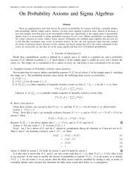 On Probability Axioms and Sigma Algebras - University of Southern ...