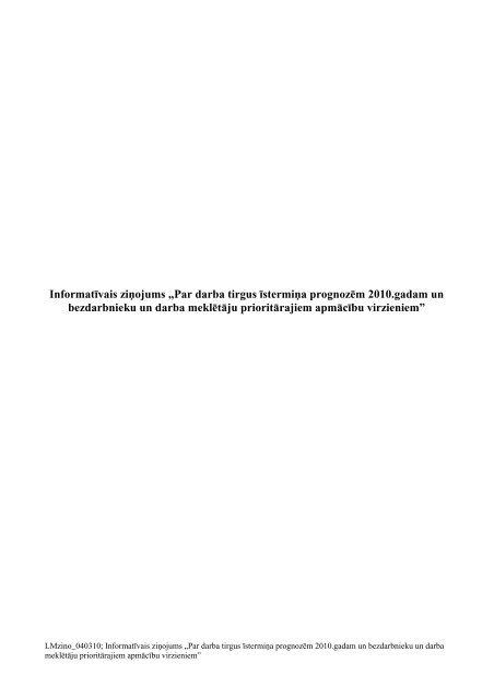 Par darba tirgus īstermiņa prognozēm 2010.gadam un ...