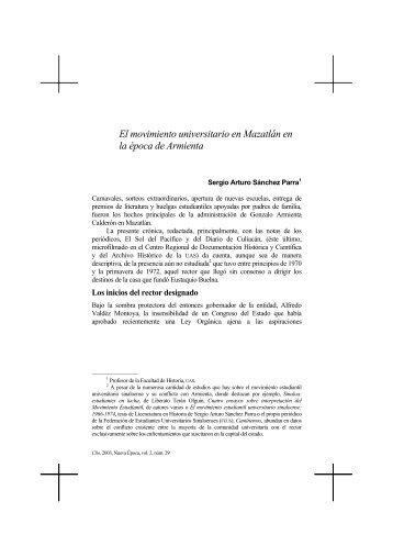 El movimiento universitario en Mazatlán en la época de Armienta