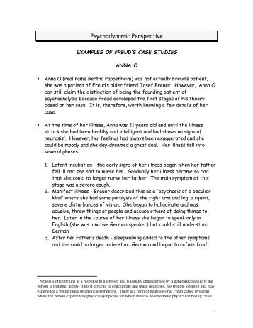 EXAMPLES OF FREUD'S CASE STUDIES - iLearn
