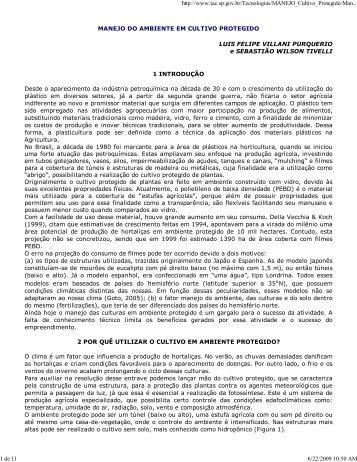 MANEJO DO AMBIENTE EM CULTIVO PROTEGIDO LUIS FELIPE ...