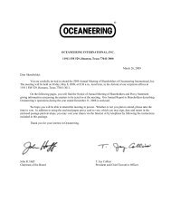 Proxy Statement dated March 26, 2009 - Oceaneering