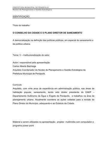 O conselho da cidade e o plano diretor de saneamento - Semasa