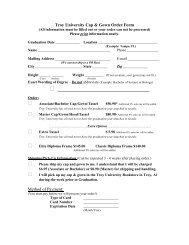 Troy University Cap & Gown Order Form
