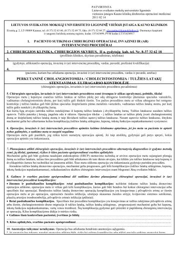 2. CHIRURGIJOS KLINIKA, CHIRURGIJOS ... - Kauno klinikos