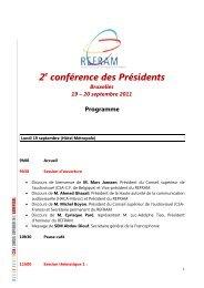 2e conférence des Présidents - Organisation internationale de la ...