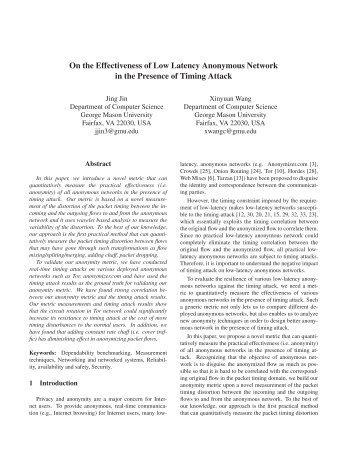 On the Effectiveness of Low Latency Anonymous Network - The Free ...