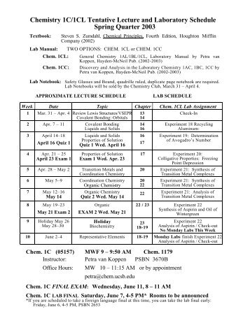 Chemistry 1C/1CL Tentative Lecture and Laboratory Schedule ...