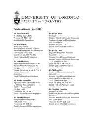 Faculty Adjuncts – May 2013 - Faculty of Forestry - University of ...
