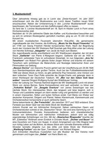 Klosterkonzert Bericht - Musikverein Weitmars