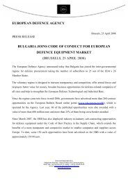 Bulgaria Joins Code of Conduct for European Defence Equipment ...