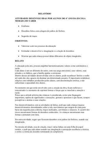RELATÓRIO ATIVIDADES DESENVOLVIDAS POR ALUNOS DO 4º ...