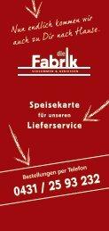 Bestellungen per Telefon - Fabrik Kiel