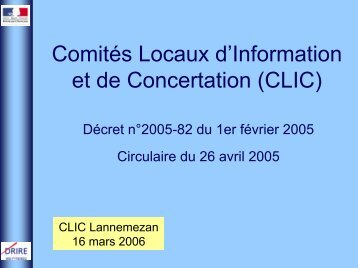 la circulaire CLIC (Comités Locaux d'Information et de ... - Fregif