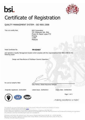 ISO 9001-2008 - AVX