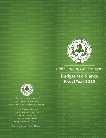 Budget at a Glance Fiscal Year 2010 - Cobb County