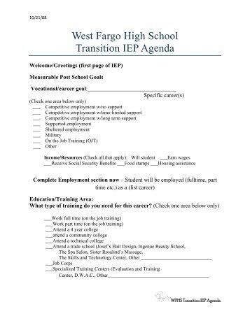 WFHS Transition Agenda