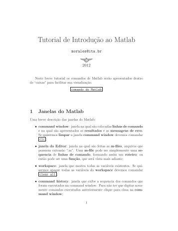 Tutorial de Introduç˜ao ao Matlab - ITA