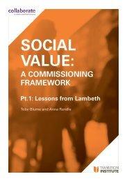 Social Value A Commissioning Framework Report