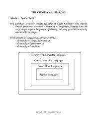 THE CHOMSKY HIERARCHY (Reading: Section ... - Elvis.rowan.edu