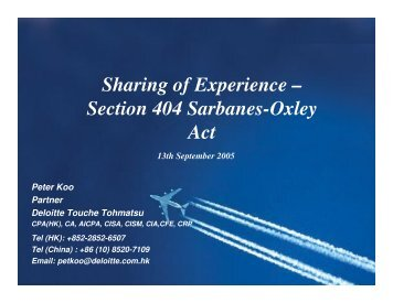 Sharing of Experience – Section 404 Sarbanes-Oxley Act - ISACA