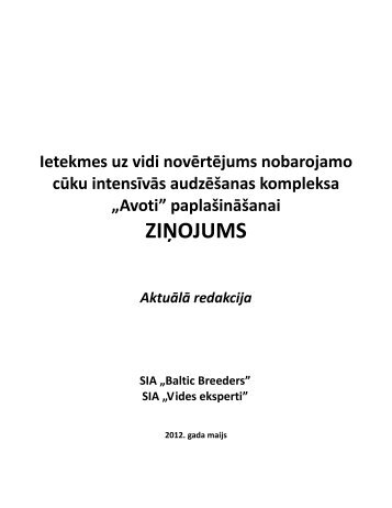 """""""Avoti"""" paplašināšanai ZIŅOJUMS Aktuālā redakcija ... - Vides Eksperti"""
