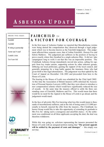 Newsletter - November 2002 - Clydebank Asbestos Group