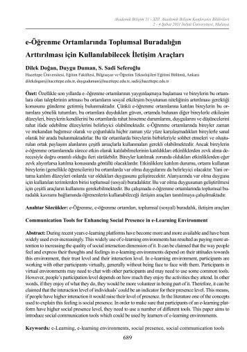 e-Öğrenme Ortamlarında Toplumsal Buradalığın Arttırılması için ...