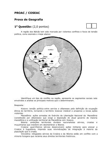 PROAC / COSEAC Prova de Geografia 1a Questão: (2,0 pontos) - Uff