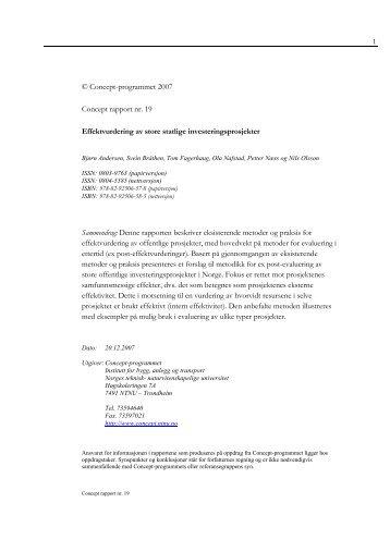 Effektvurdering av store statlige ... - Concept - NTNU