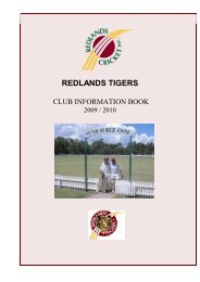 Tigers Club Handbook - Queensland Cricket